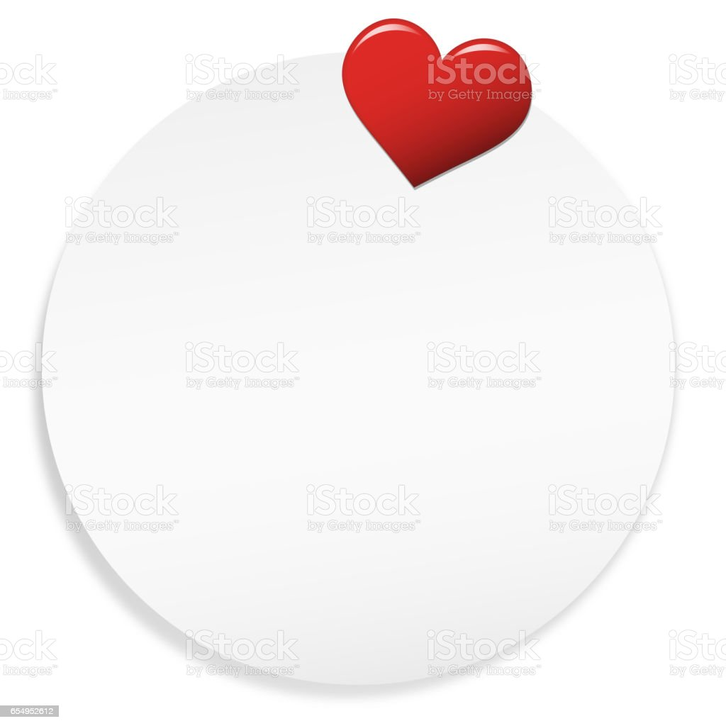 Round note with Heart Pin vector art illustration
