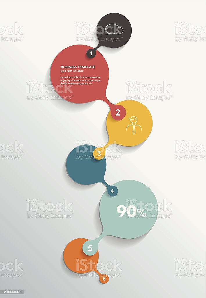Round numbered template. vector art illustration