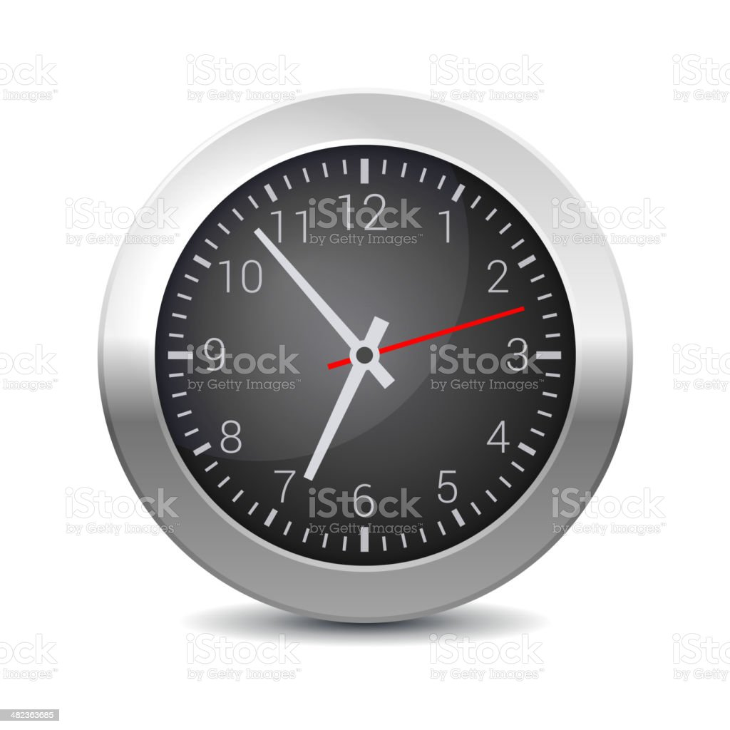 Round Office Wall Clock with Black Dial. Vector royalty-free stock vector art