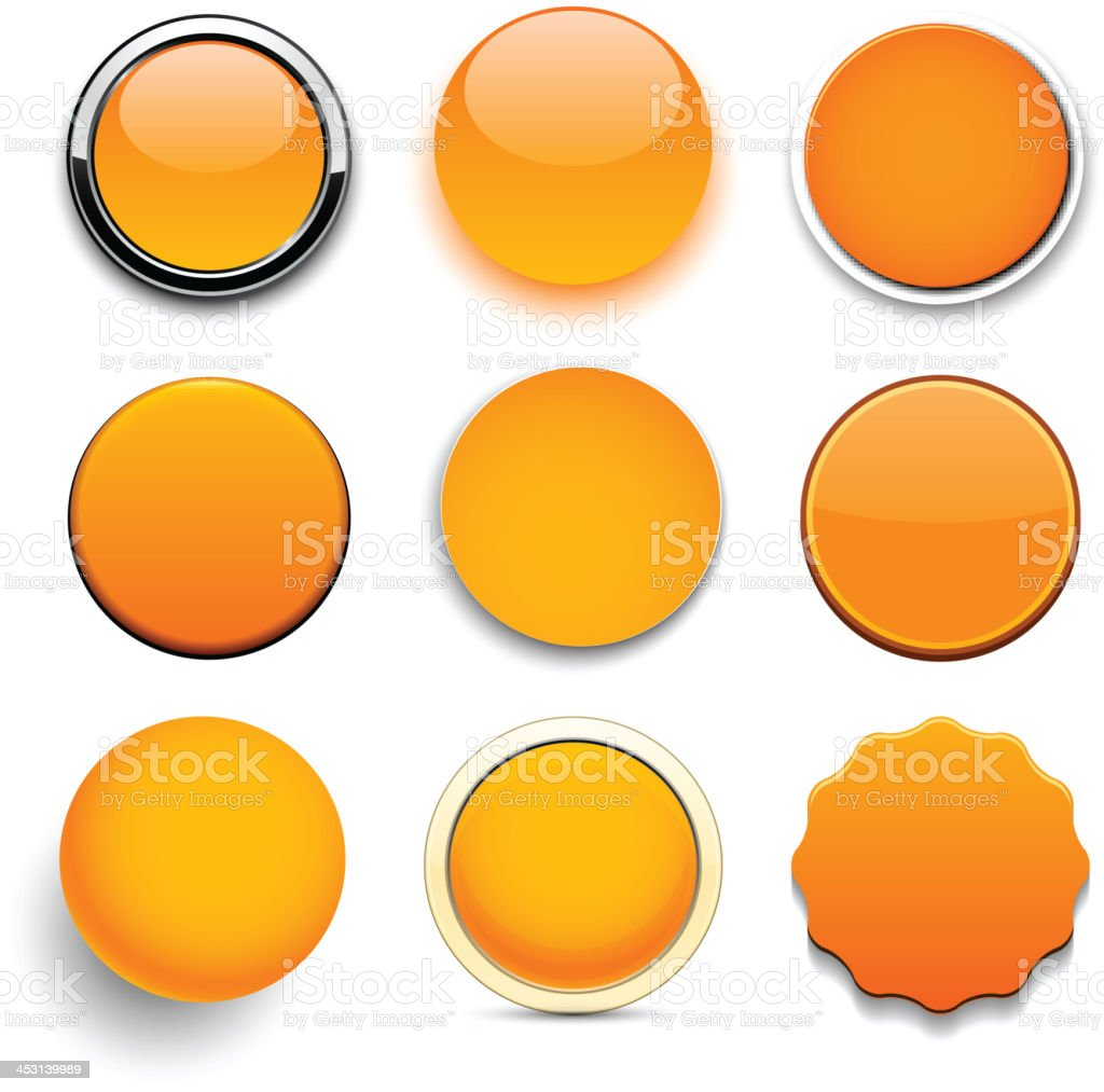 Round orange icons. vector art illustration