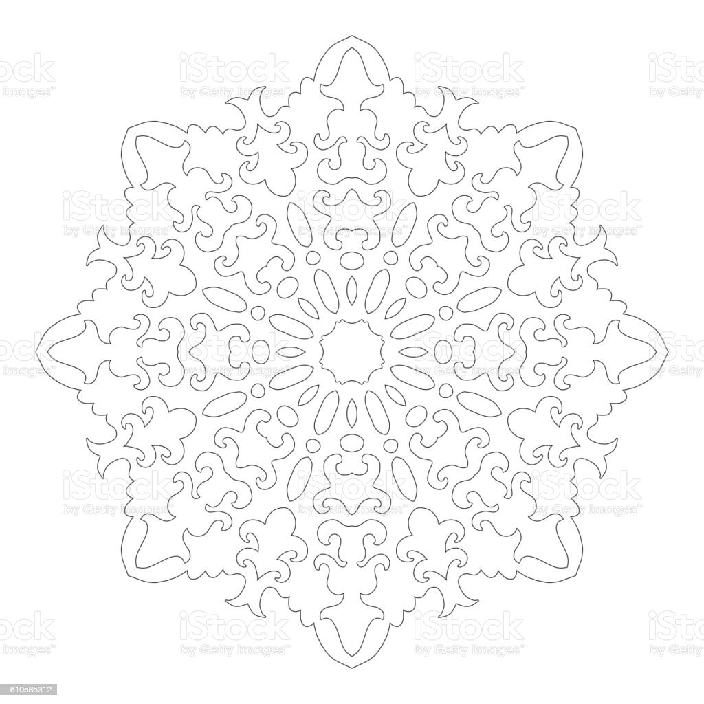 Coloring book snowflake - Coloring Book Snowflake Round Ornament For Coloring Books Black White Pattern Lace Snowflake Royalty