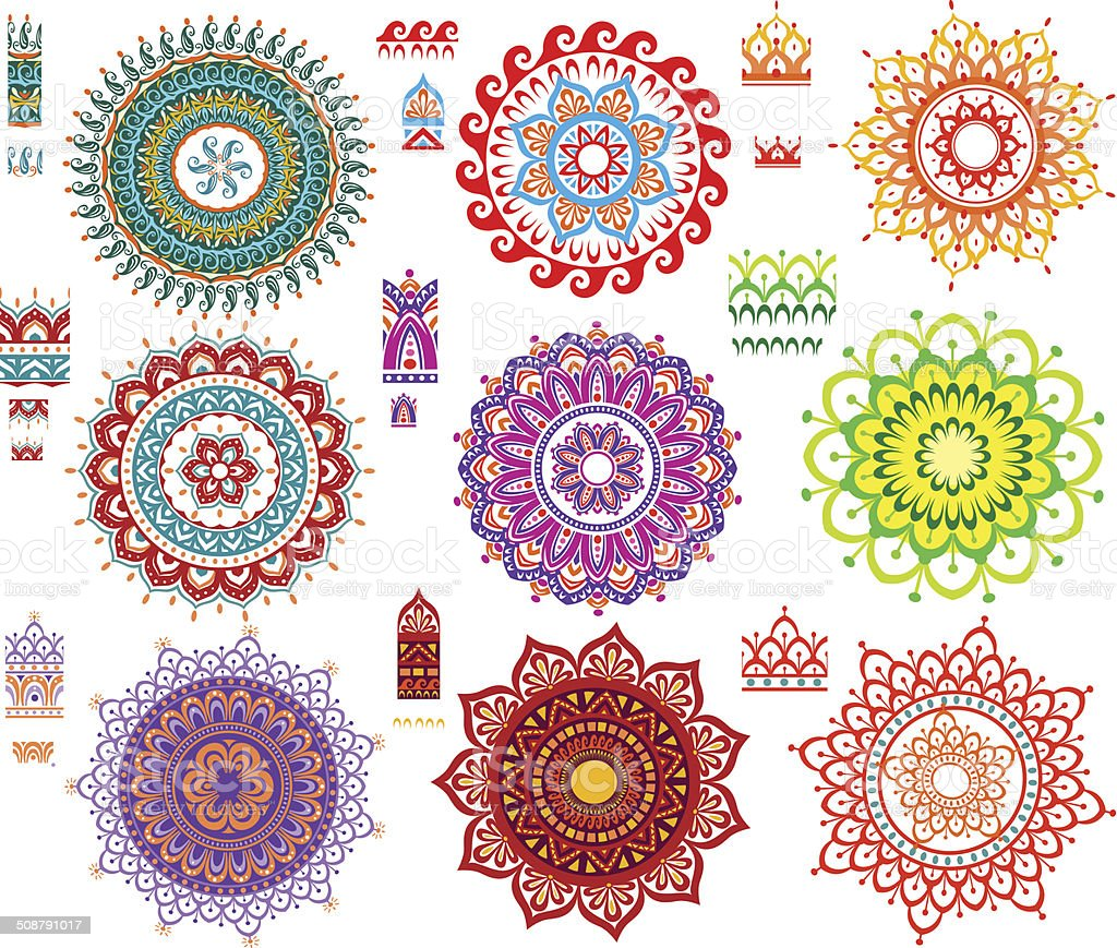 Round Ornament Pattern with Pattern brash vector art illustration