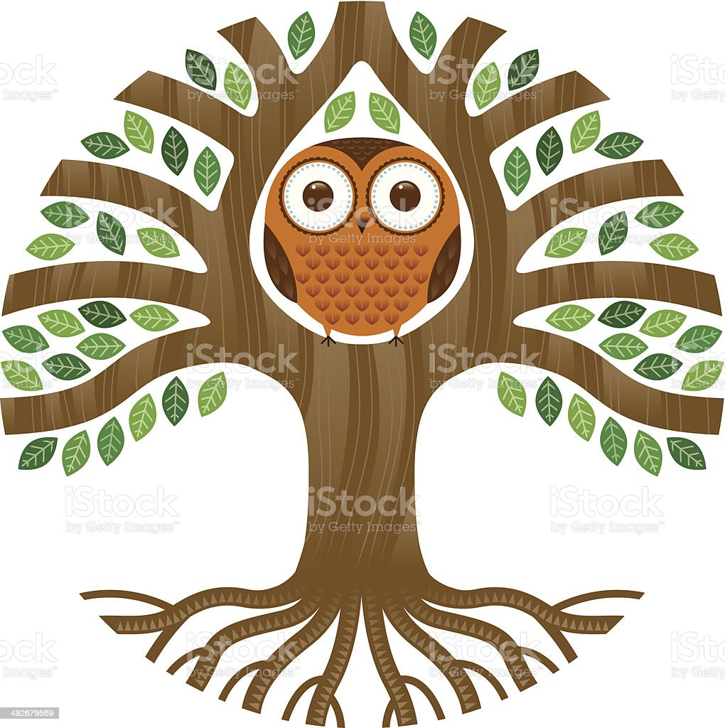 Round owl in a tree royalty-free stock vector art