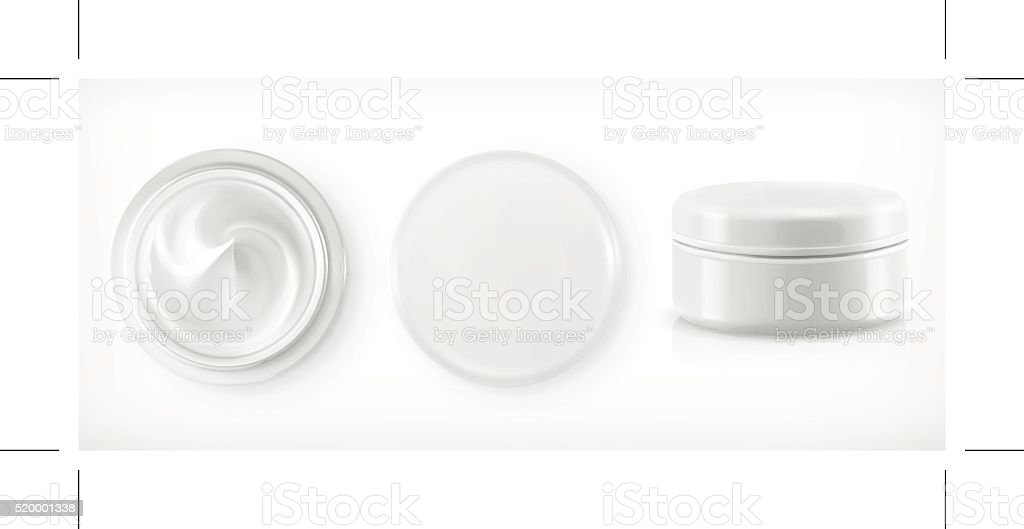 Round packaging of cream vector art illustration