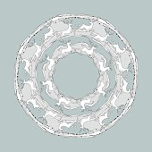 Round pattern. Mandala with deers on a grey background.
