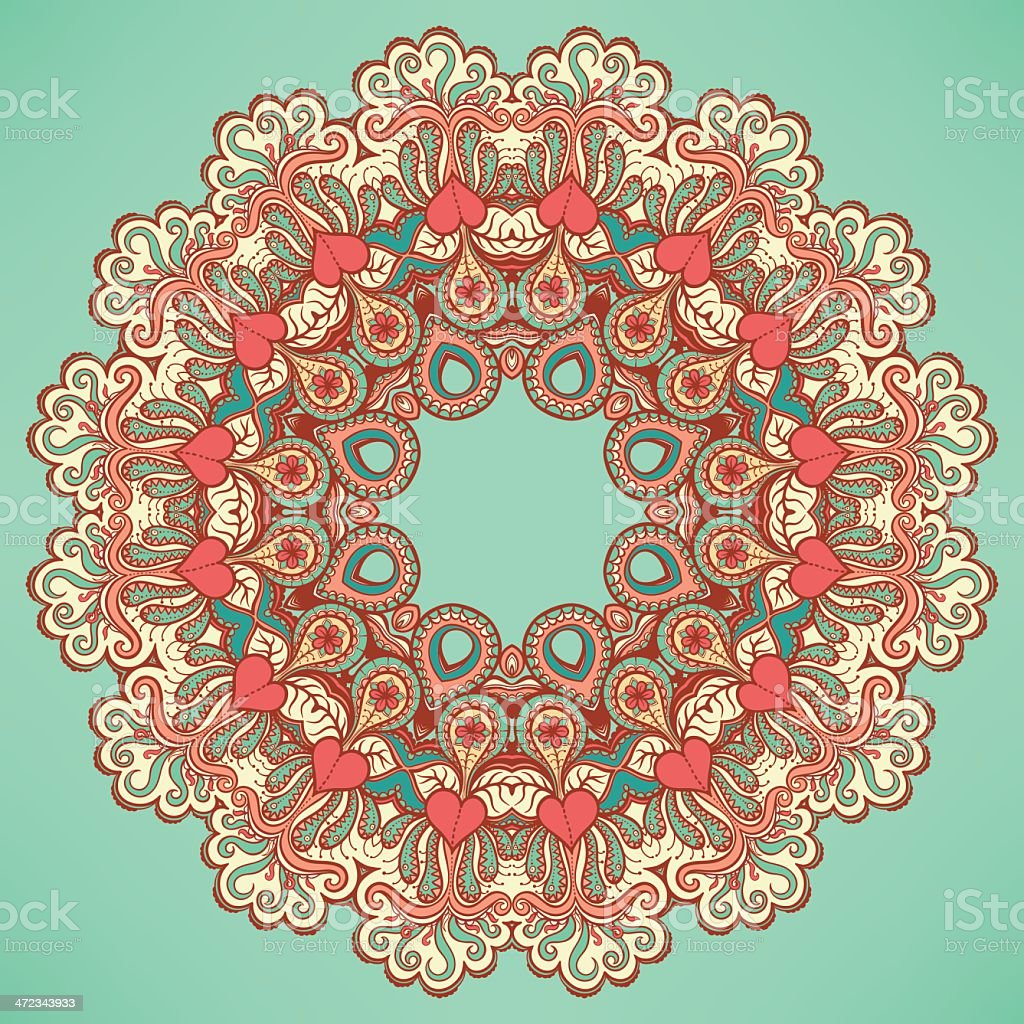 round pattern with hearts and flowers royalty-free stock vector art