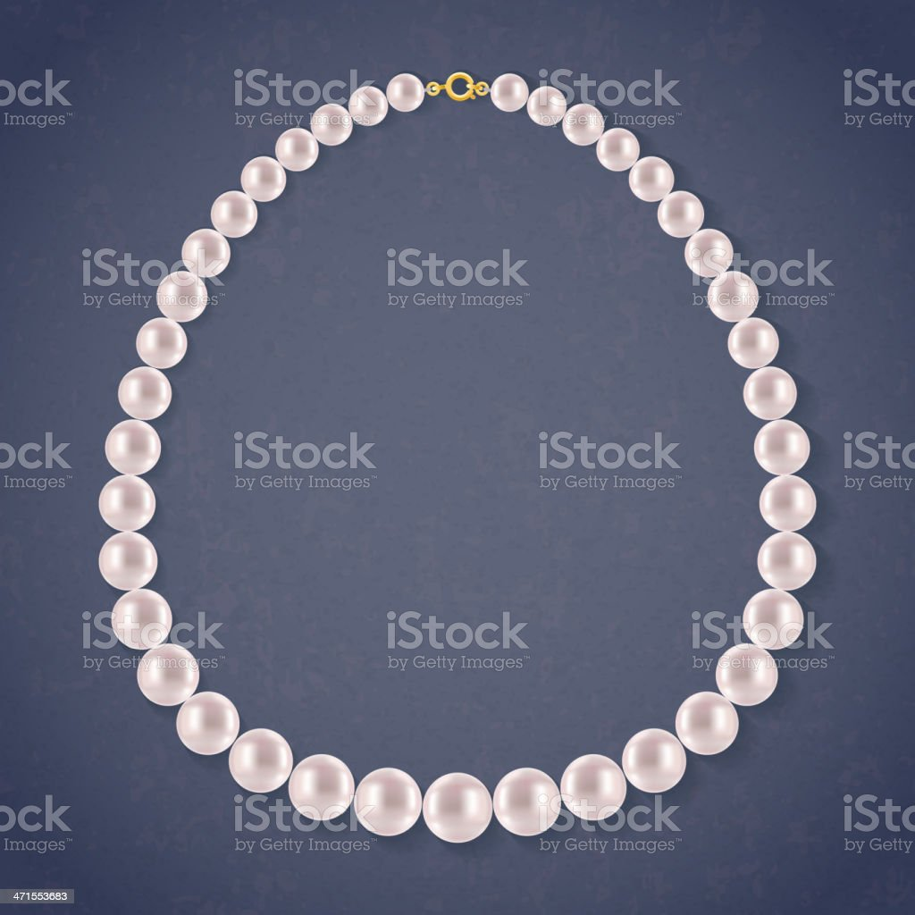 Round Pearls Necklace on dark background. vector art illustration
