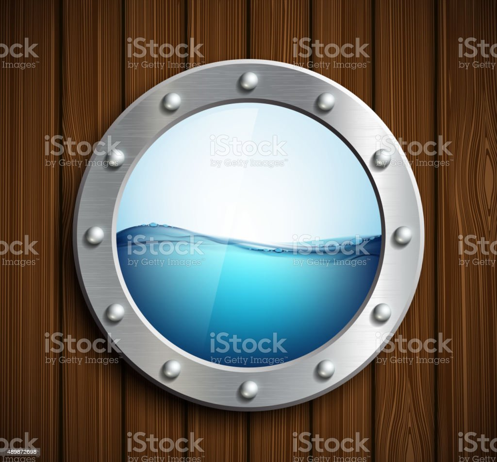 Round porthole on a wooden surface. vector art illustration
