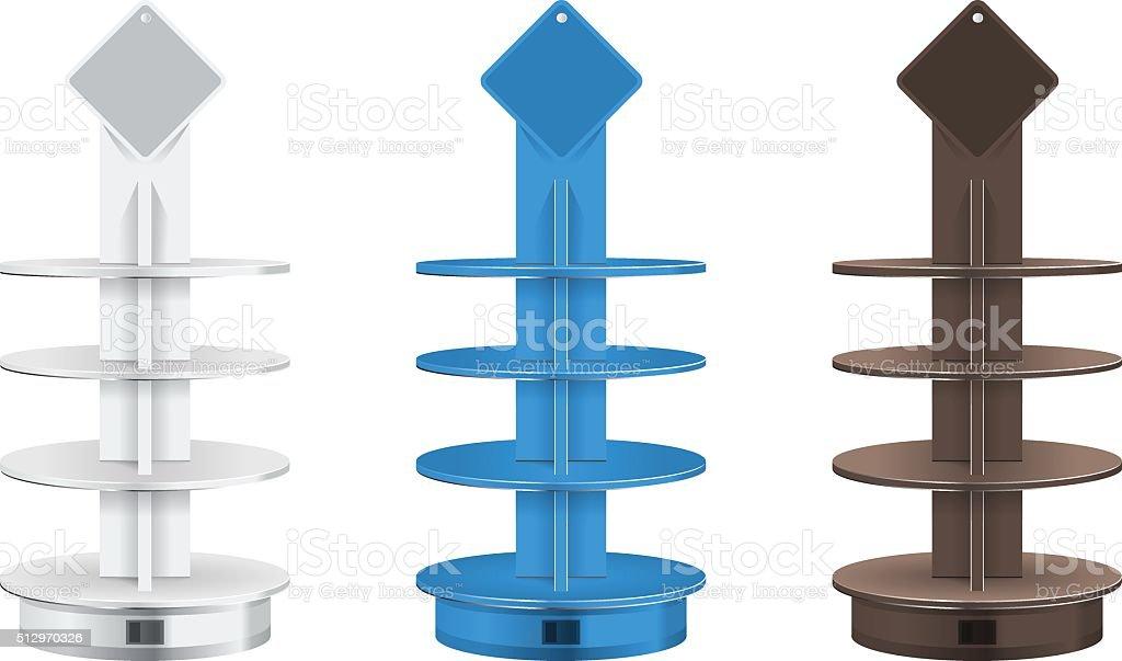Round POS POI Cardboard Floor Display Rack For Supermarket vector art illustration
