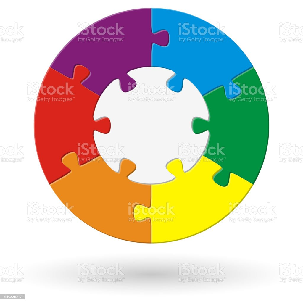 round puzzle with options vector art illustration