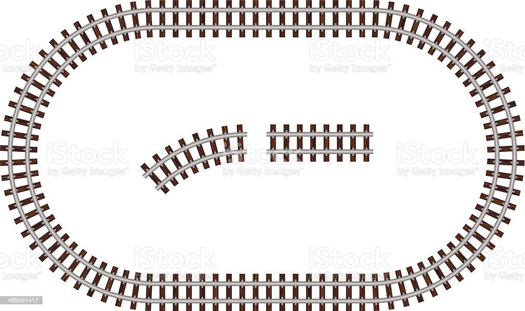 Round rail road vector art illustration