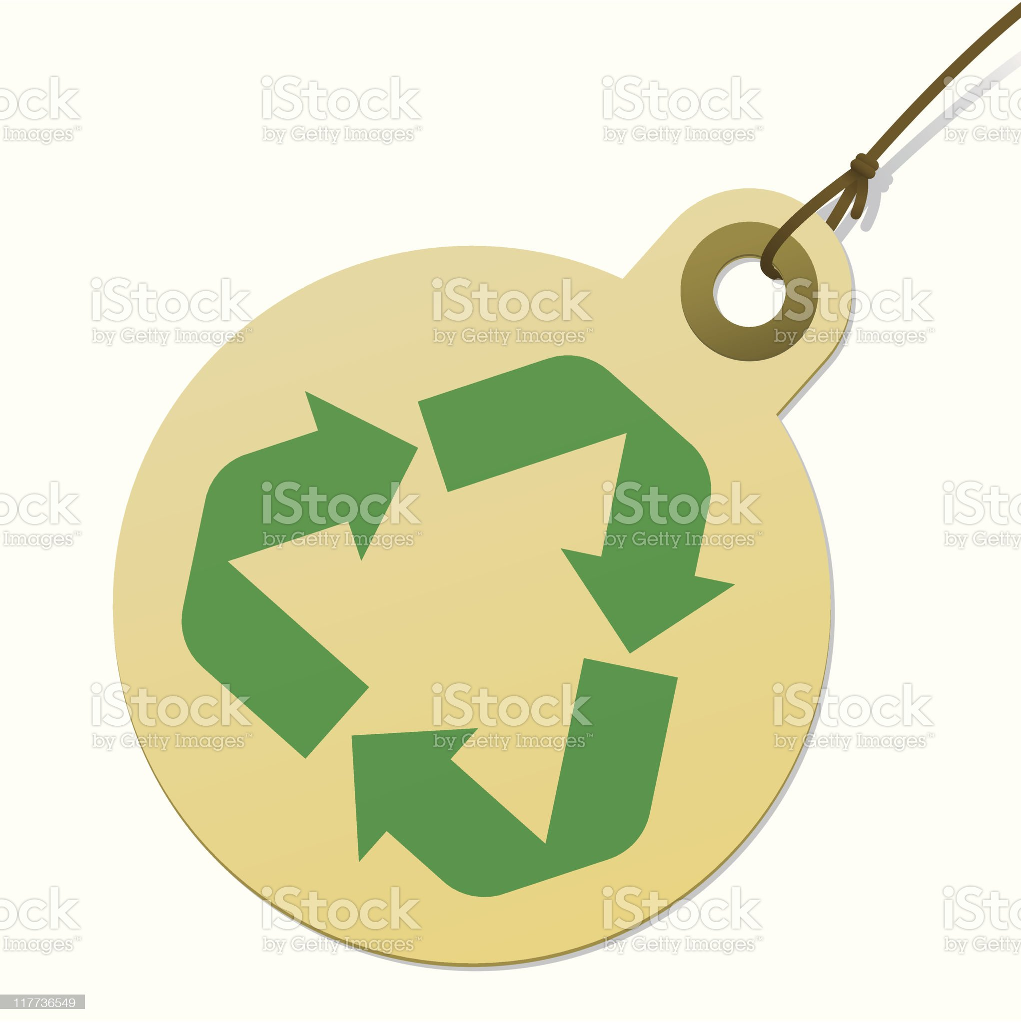 Round recycling tag with cord royalty-free stock vector art