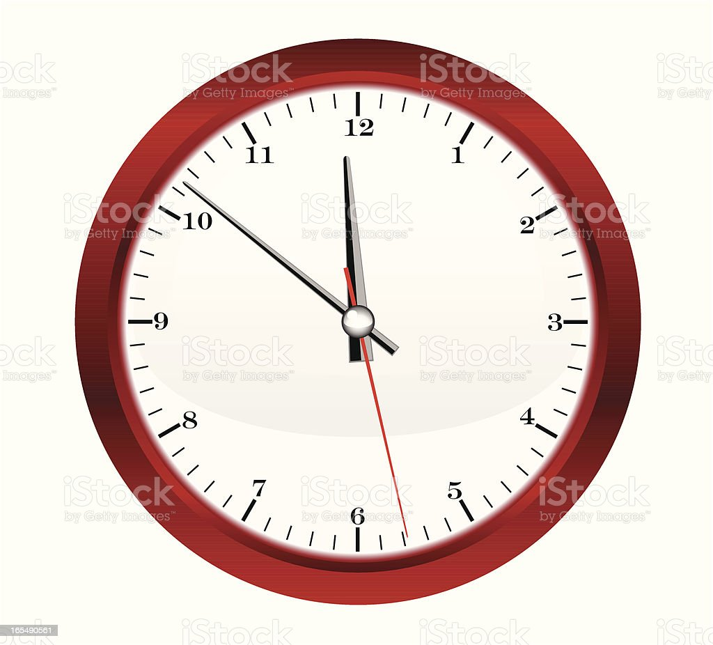 Round Red Clock - VECTOR royalty-free stock vector art