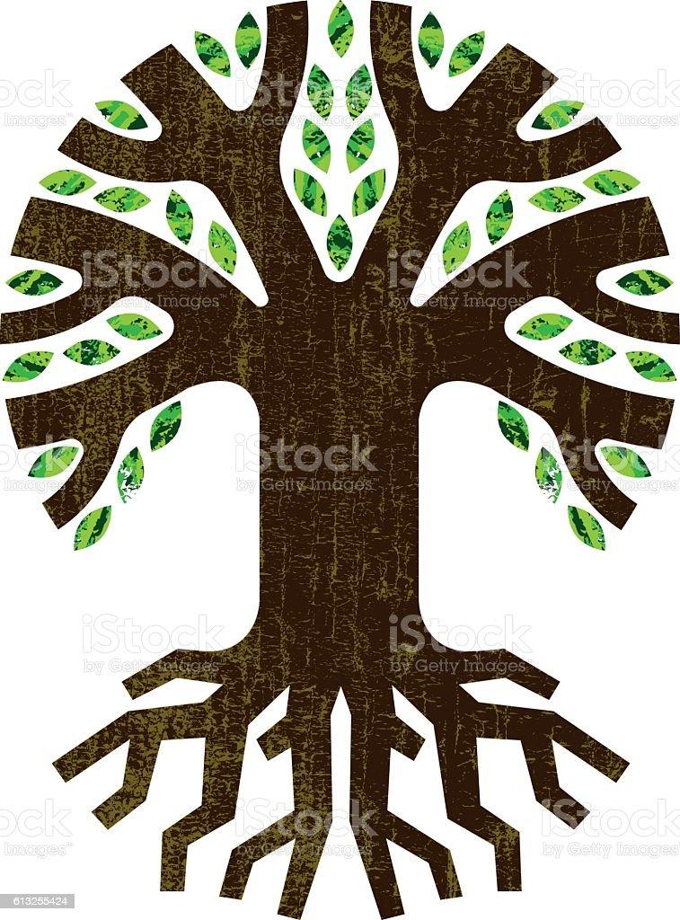 Round root tree icon illustration vector art illustration