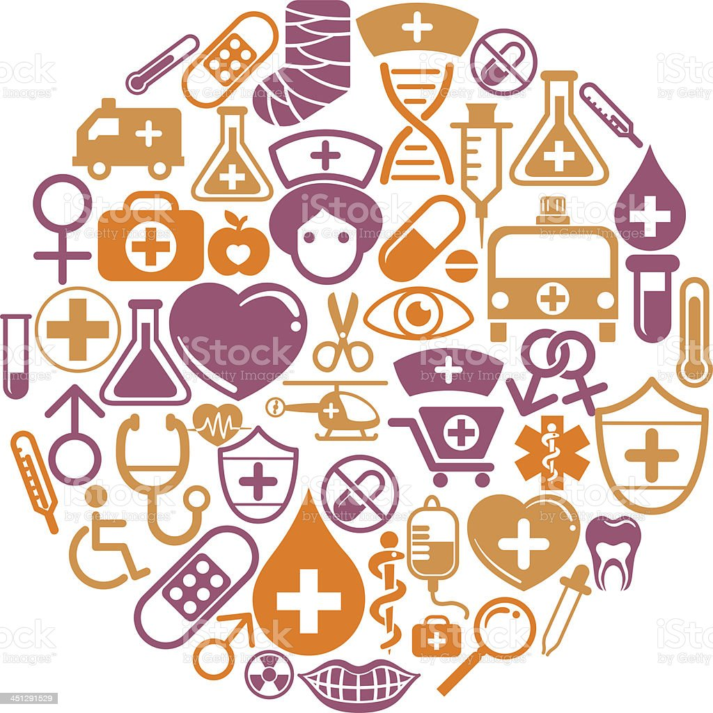 Round shape pattern with medical icon vector art illustration