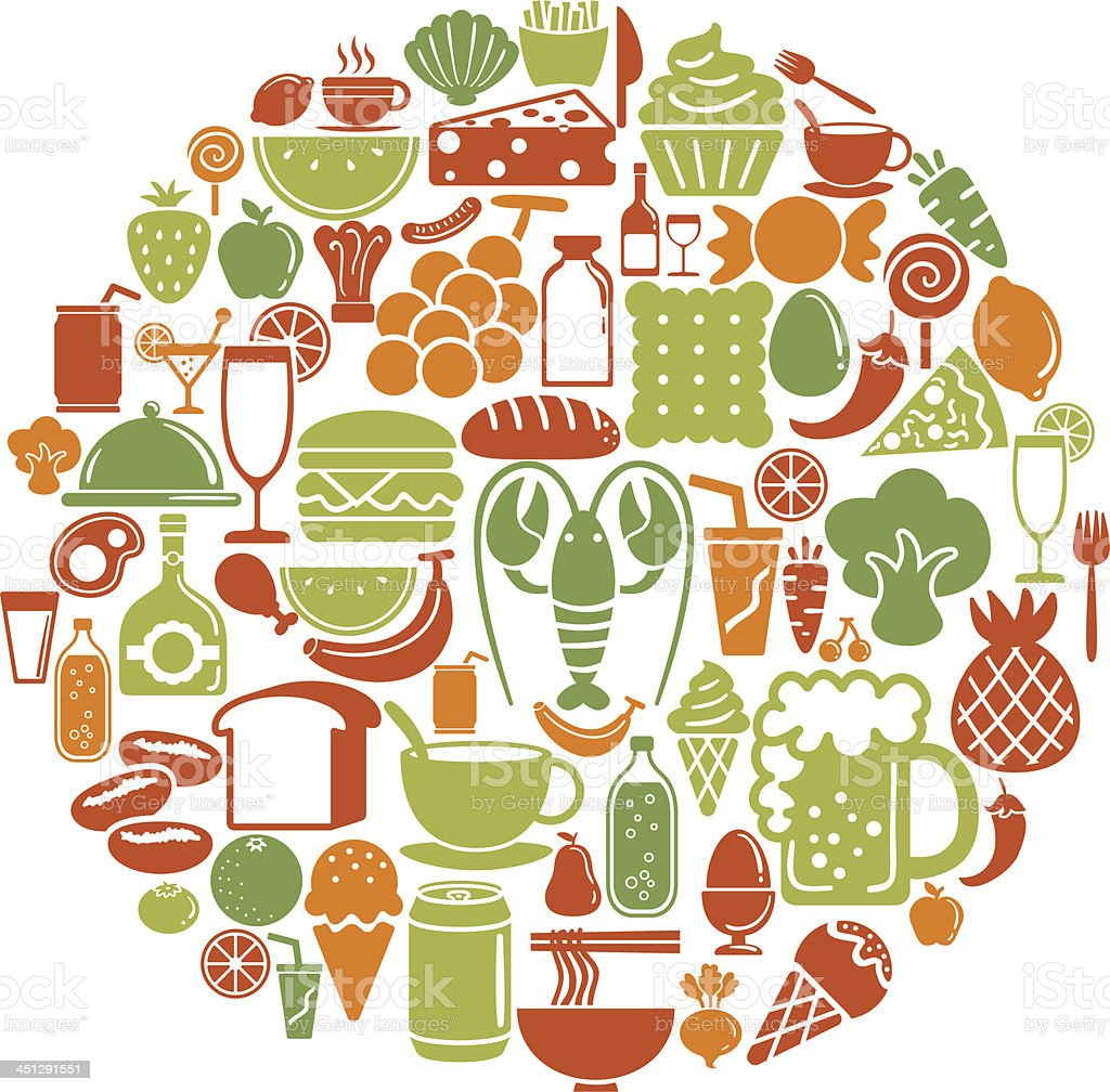 Round shape with food and beverage icons vector art illustration