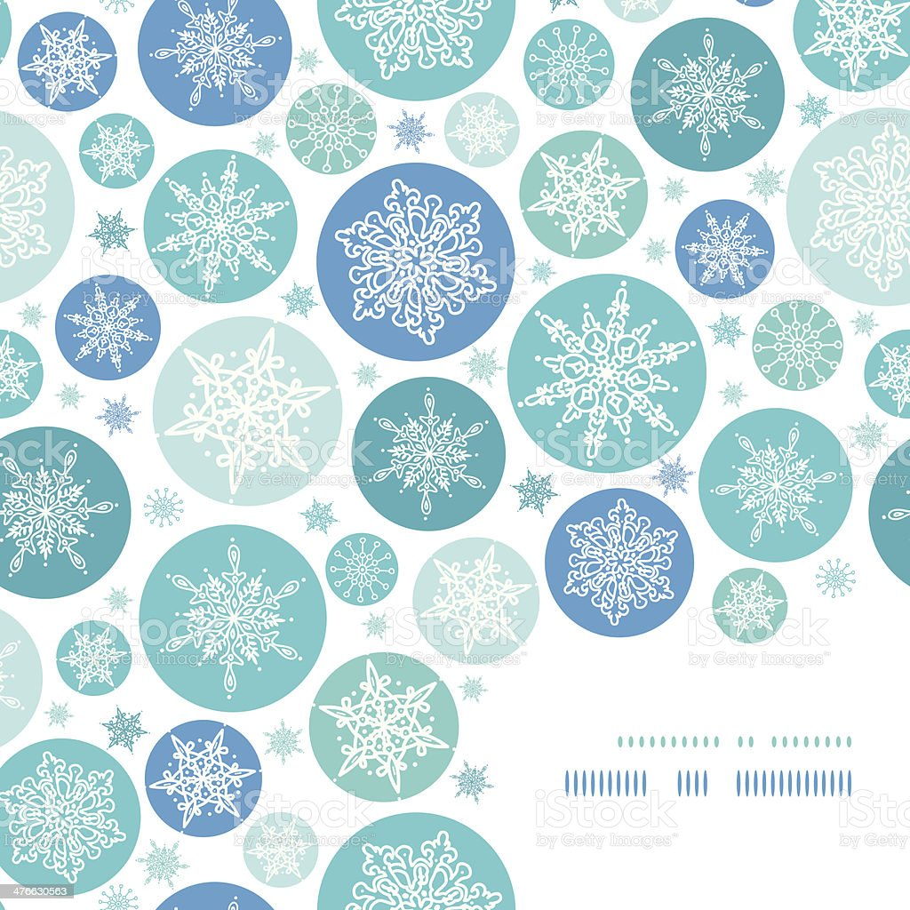 Round Snowflakes Corner Frame Pattern Background royalty-free stock vector art