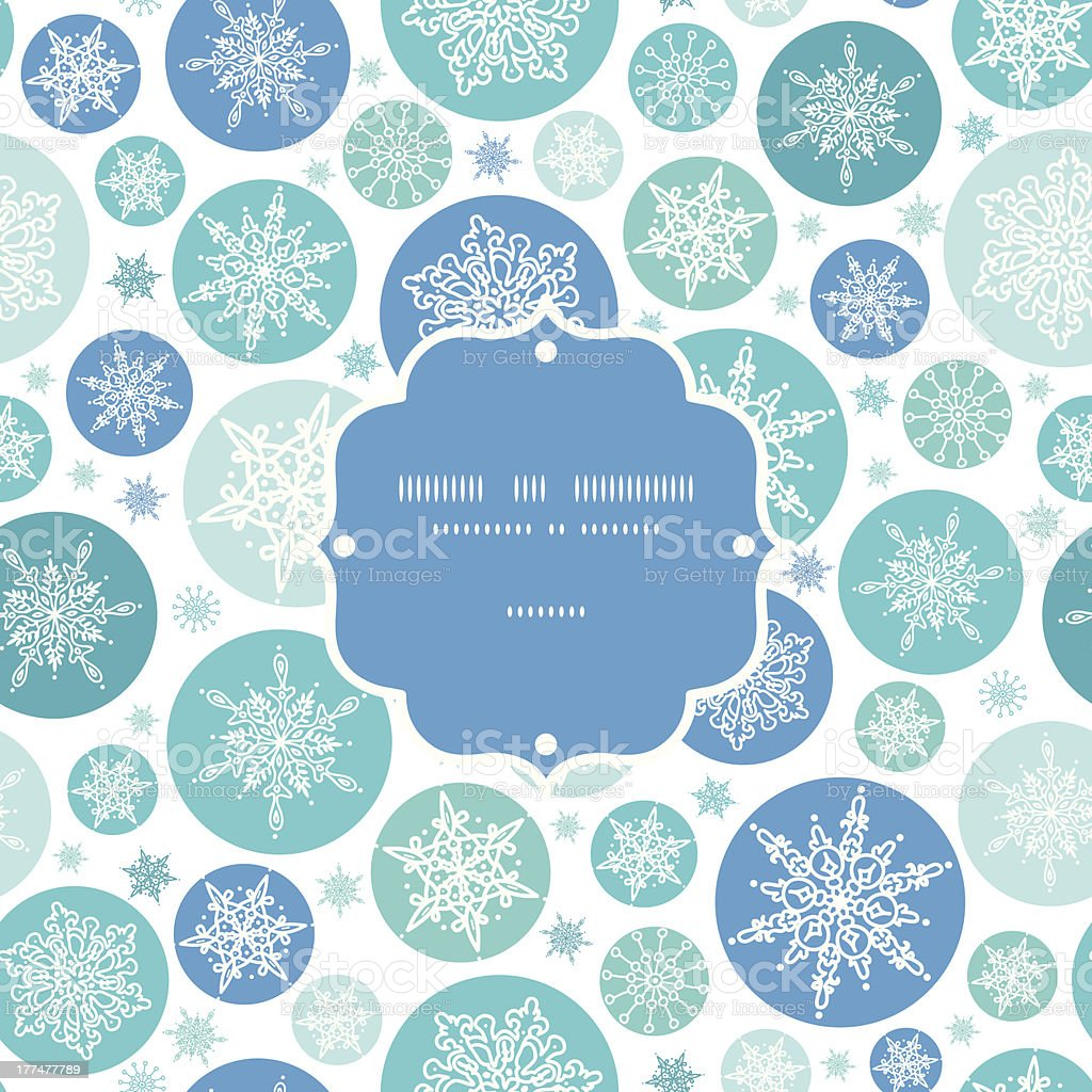 Round Snowflakes Frame Seamless Pattern Background royalty-free stock vector art