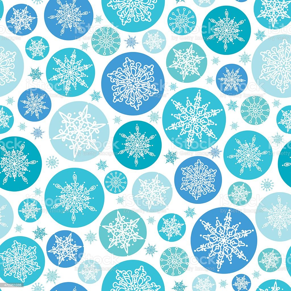 Round Snowflakes Seamless Pattern Background royalty-free stock vector art