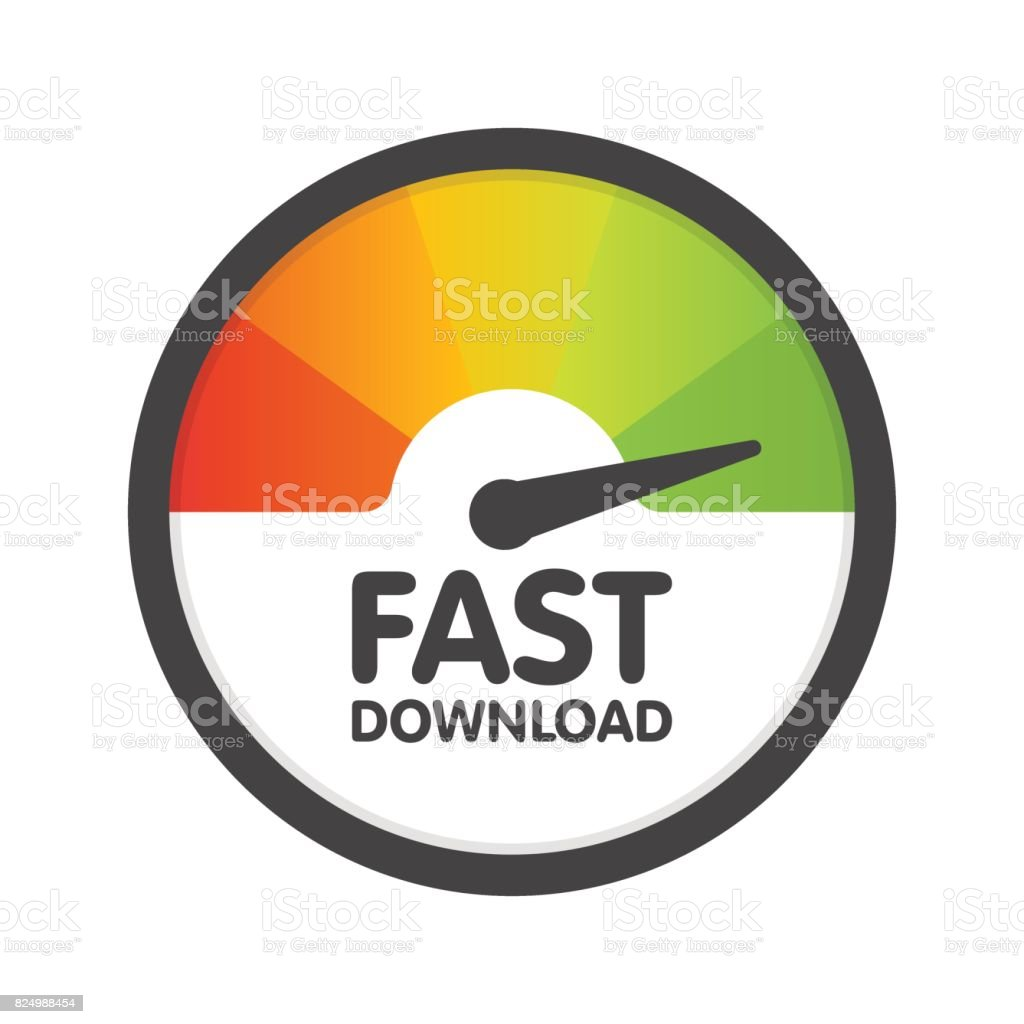 Round Speedometer fast download speed. Vector illustration template vector art illustration