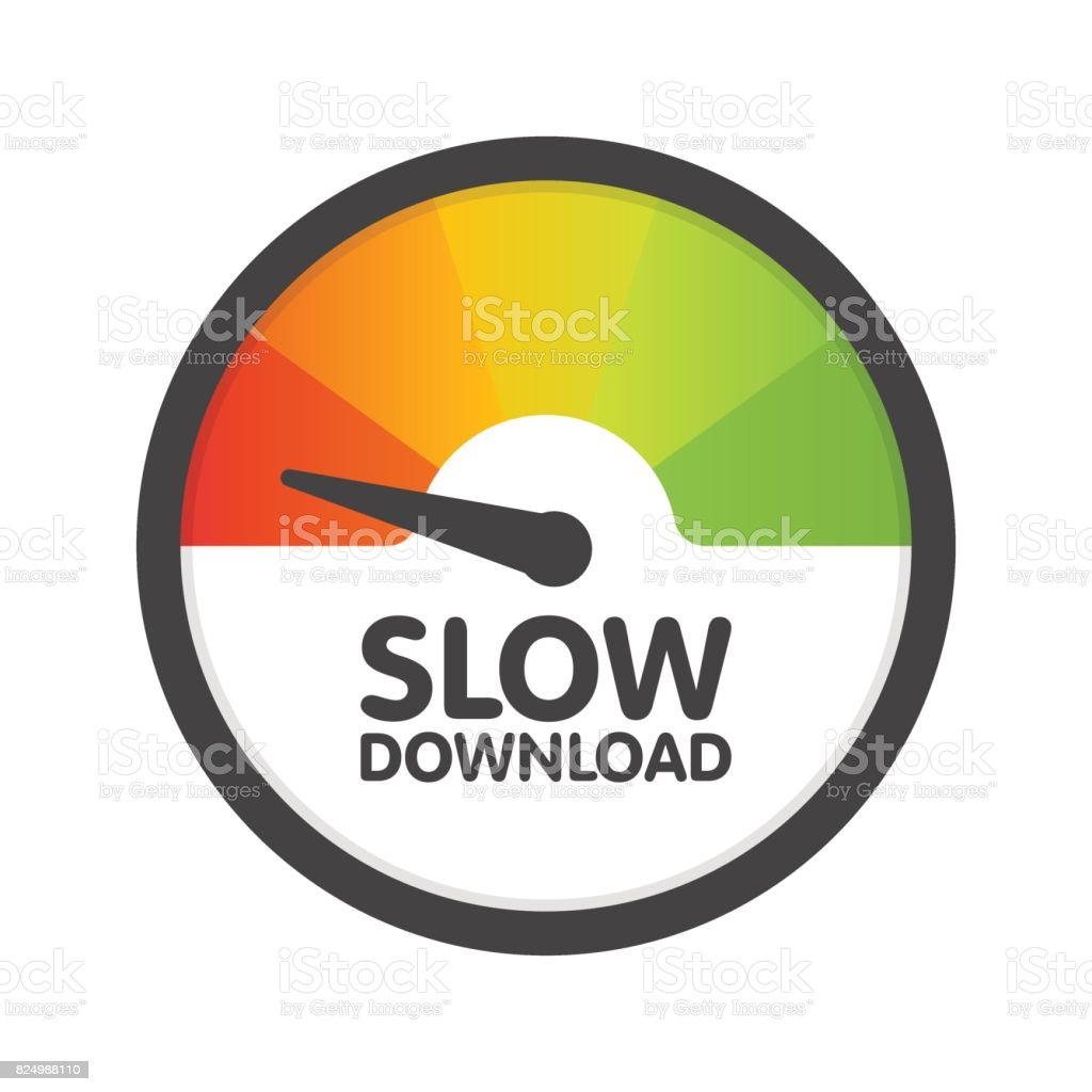 Round Speedometer slow download speed. Vector illustration template vector art illustration