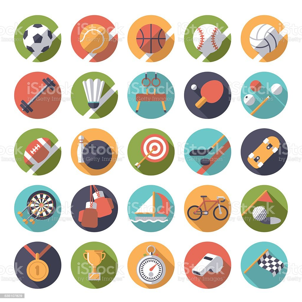 Round sports icons flat design vector set. vector art illustration