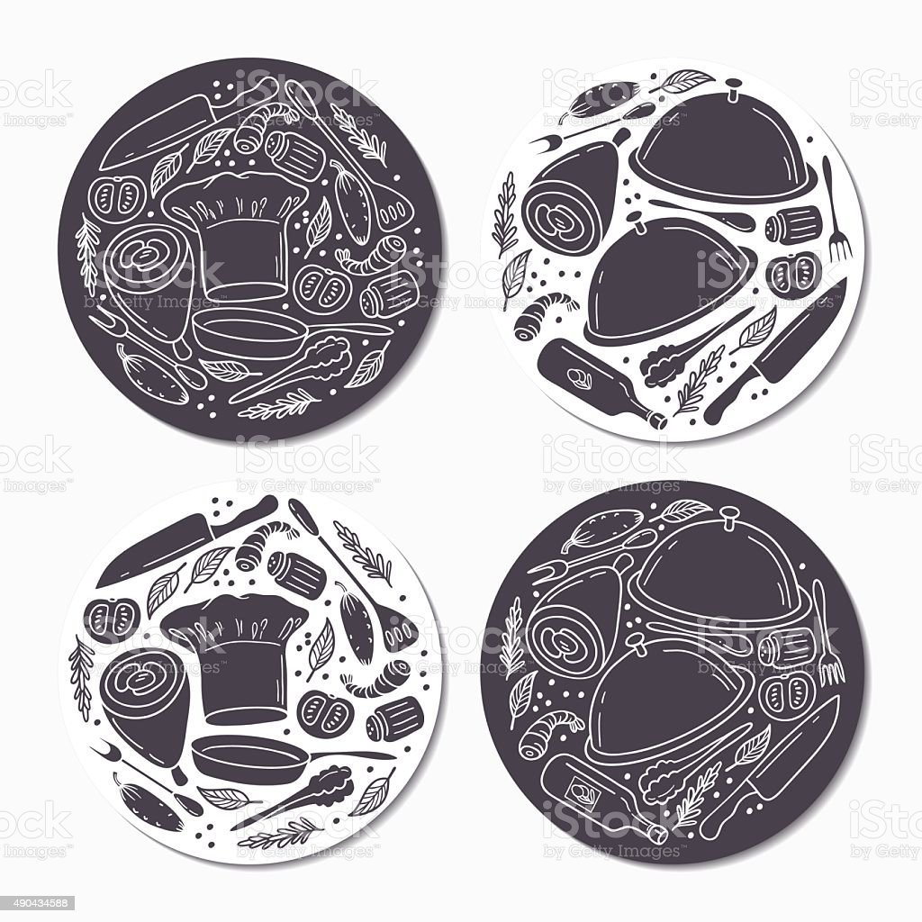 Round stickers set with doodle food patterns. Hand drawn emblem vector art illustration