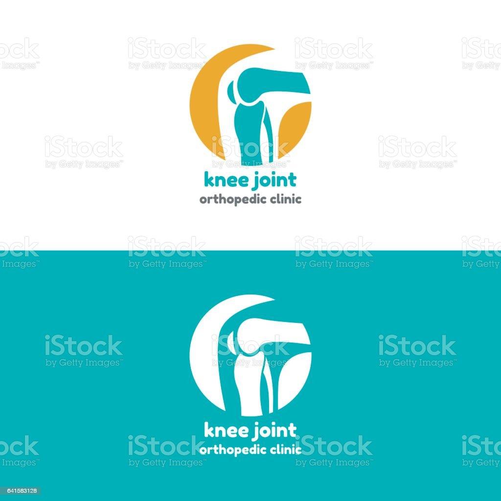 Round symbol of knee joint bones vector art illustration