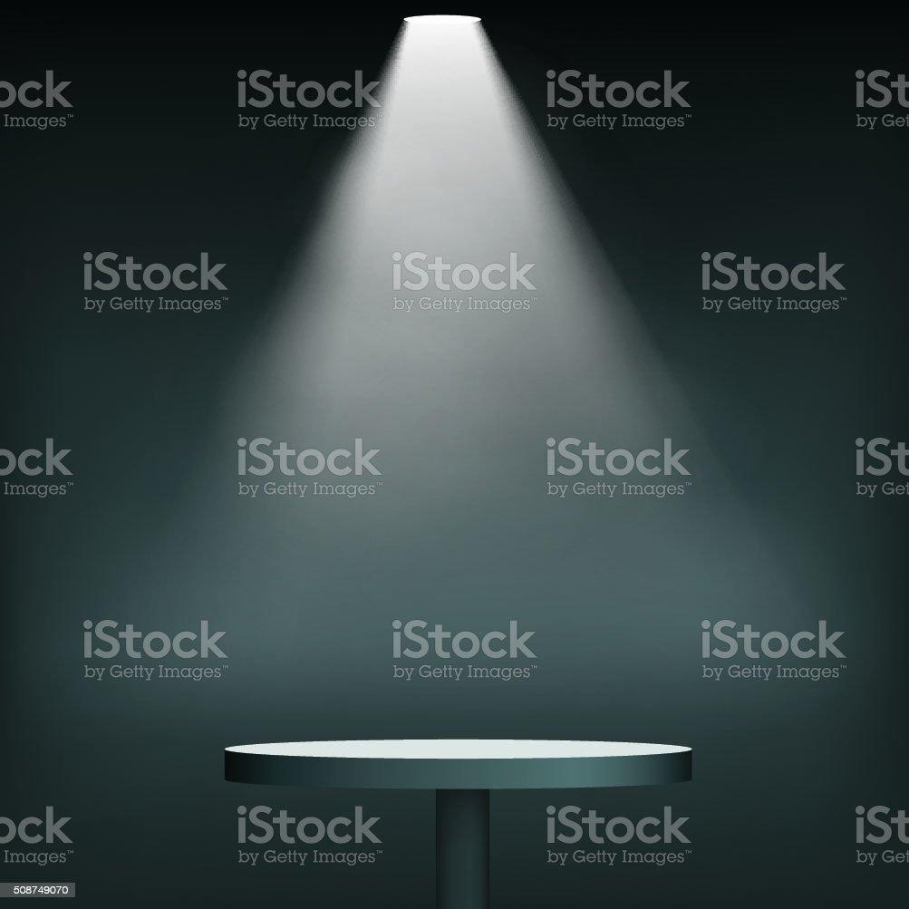 Round table floodlighting vector art illustration