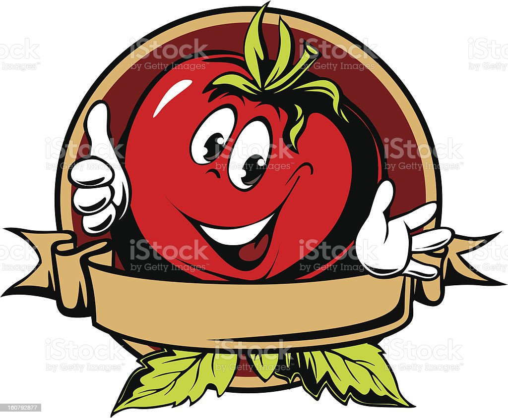 round tomato cartoon label royalty-free stock vector art