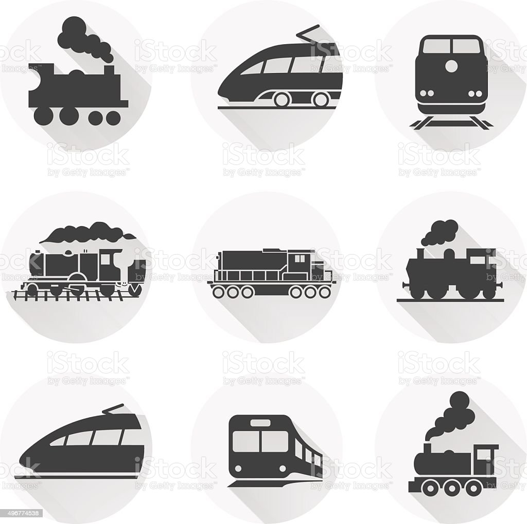 Round train icon on white background. Vector elements vector art illustration