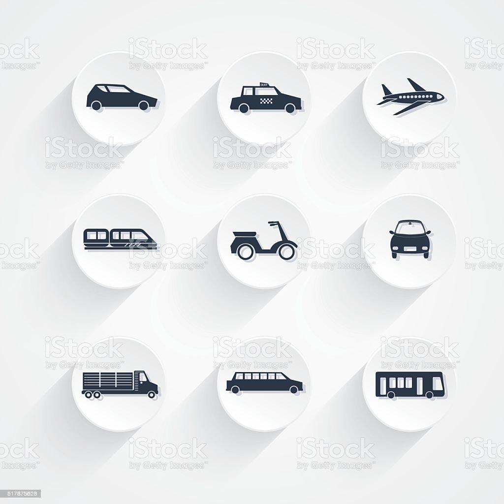 Round Transportation Icon Set vector art illustration