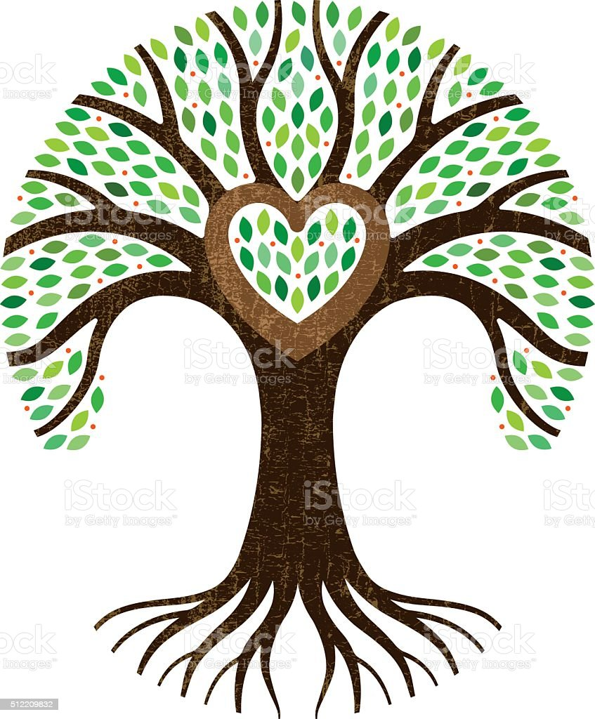 Round tree and roots with heart vector art illustration