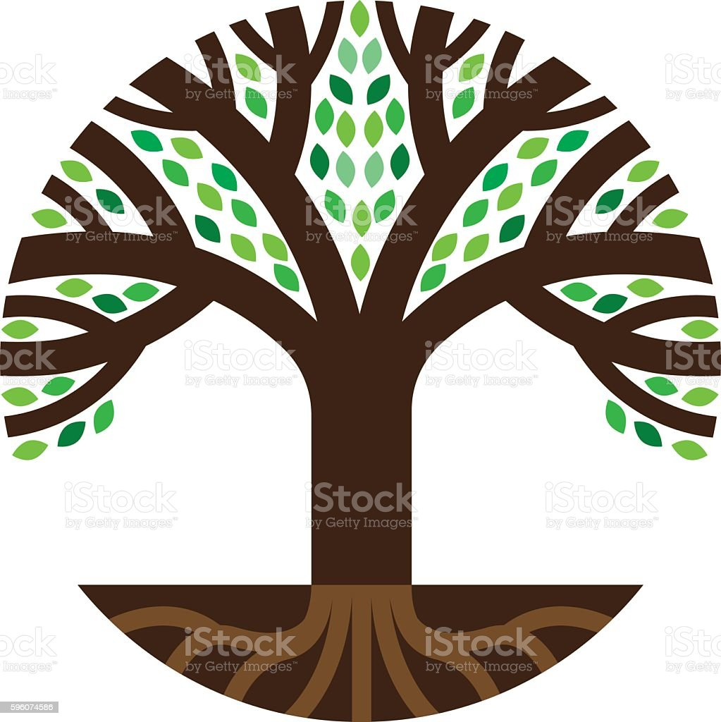 Round tree roots illustration vector art illustration