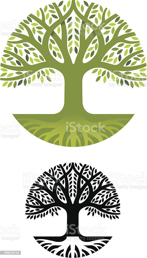 Round tree roots royalty-free stock vector art