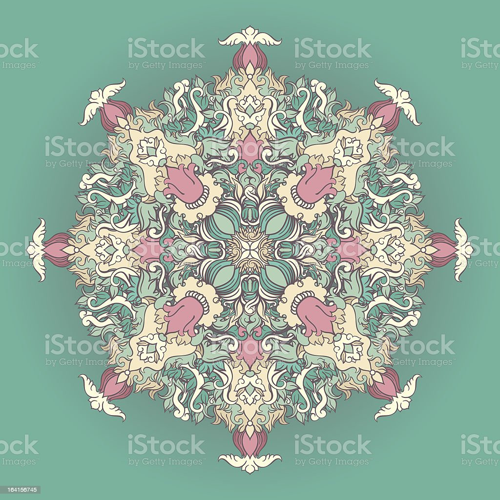 round turquoise floral pattern royalty-free stock vector art