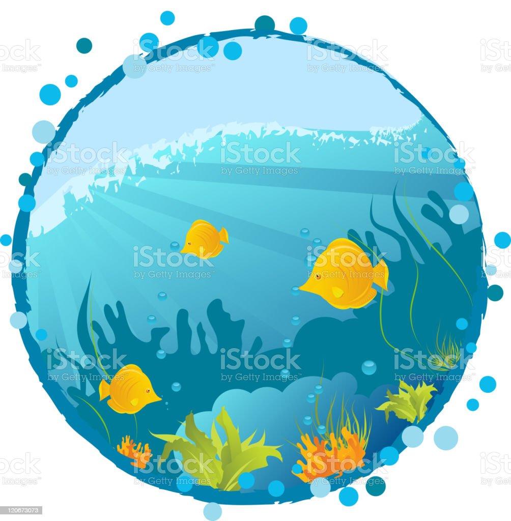 Round underwater background royalty-free stock vector art