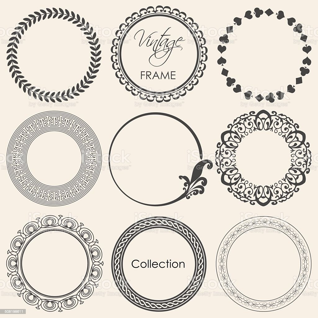 round vintage frame vector collection vector art illustration