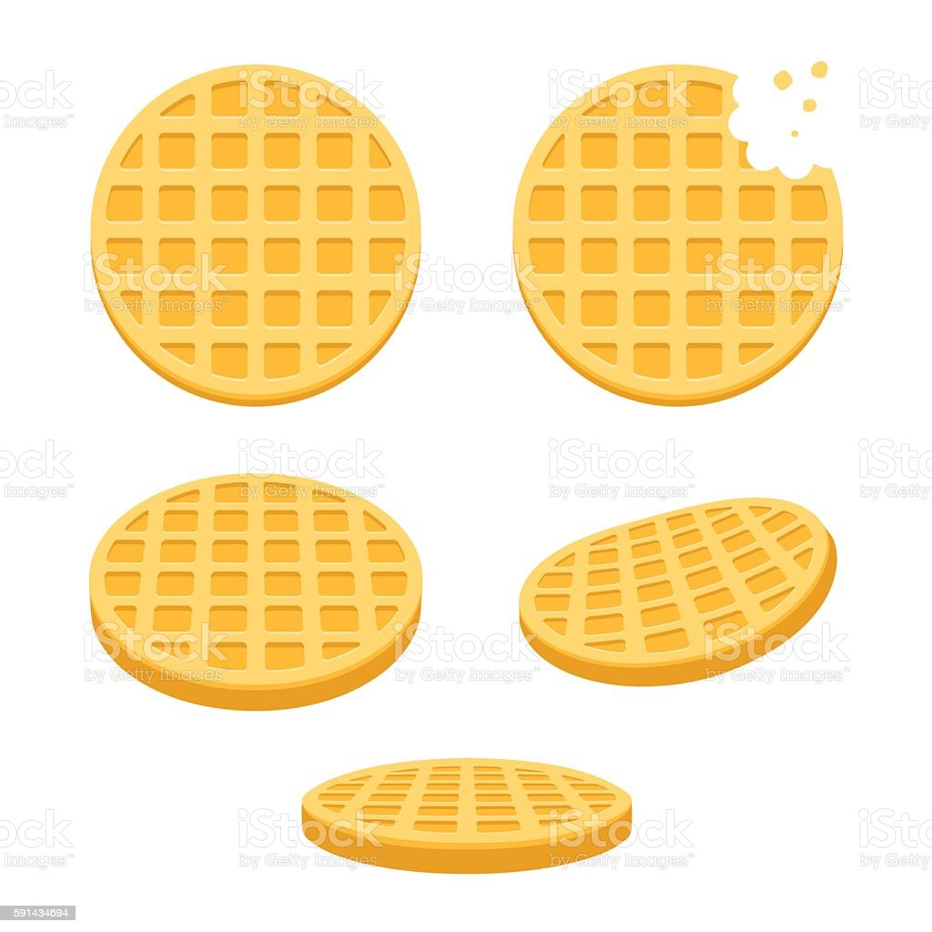 Round waffles set vector art illustration
