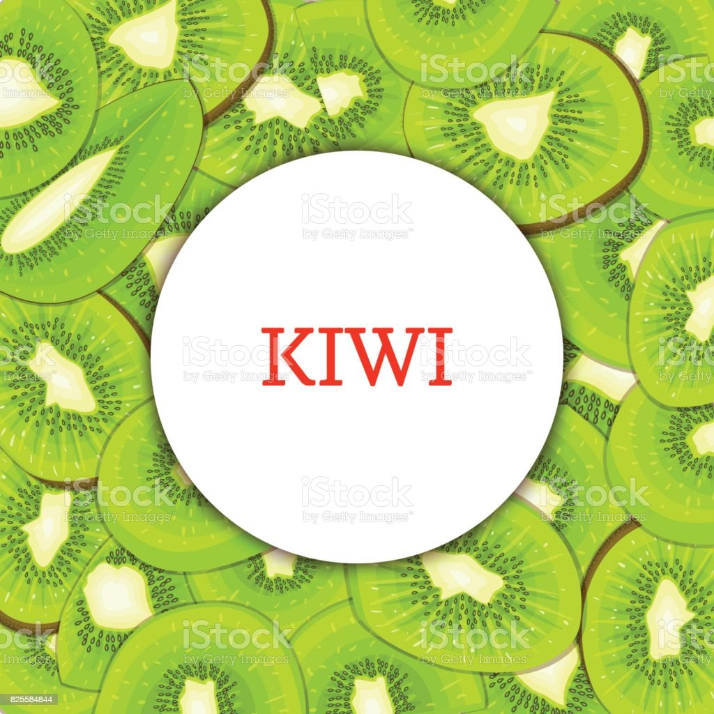 Round white frame on ripe kiwi background. Vector card illustration. Delicious fresh and juicy kiwifruit peeled piece of half slice seed appetizing looking for design  food packaging juice breakfast vector art illustration