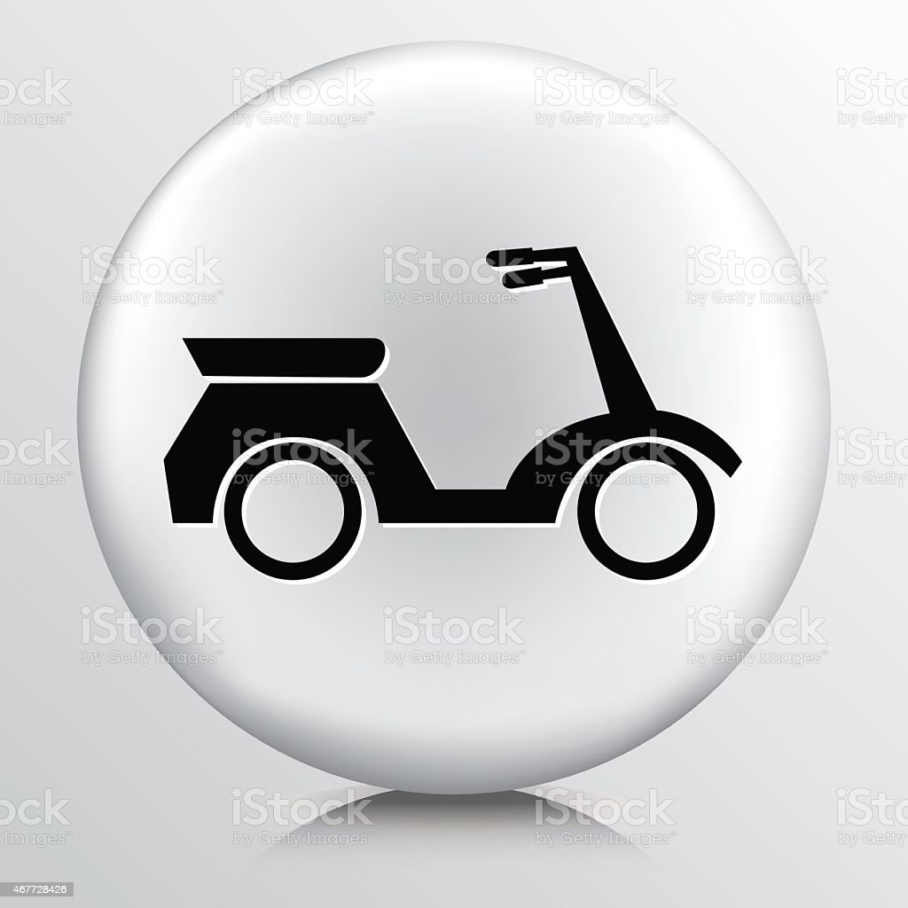 Round White Icon With Silhouette Motorized Silhouette Scooter vector art illustration