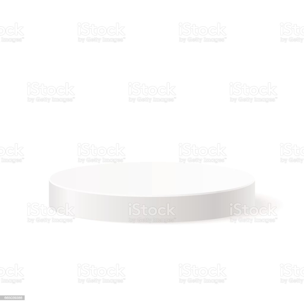 Round white podium vector art illustration