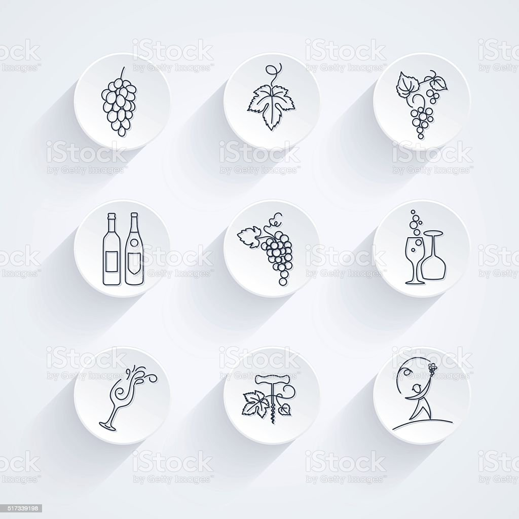 Round Winery Grapes Thin Line Art Icon Set vector art illustration