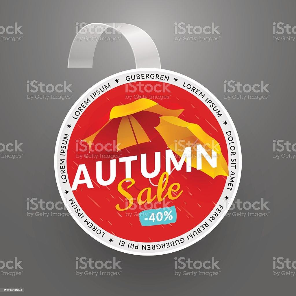 Round  wobbler design template. Autumn sale event vector art illustration