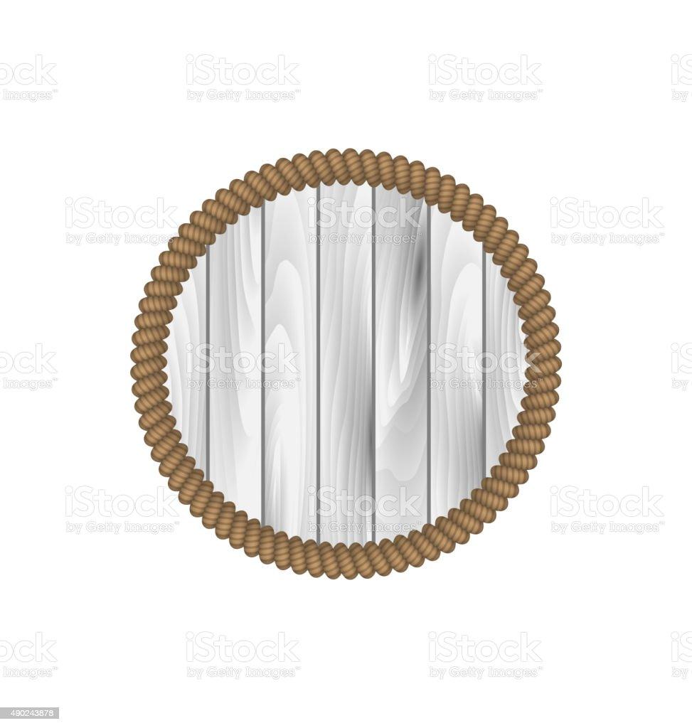 흰색 배경에 고립 된 밧줄으로 둥근 나무 프레임 일러스트 ...