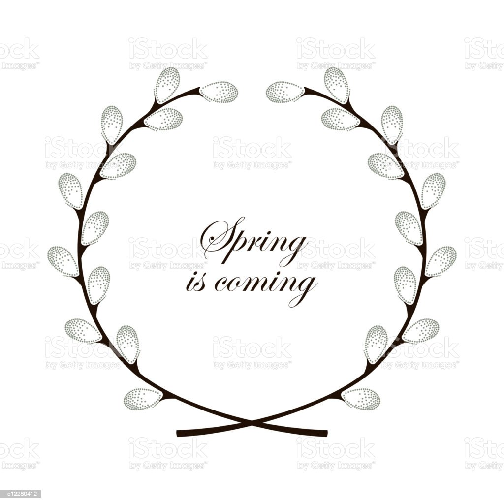 Round wreath with dotted two crossed branches of pussy-willow. vector art illustration