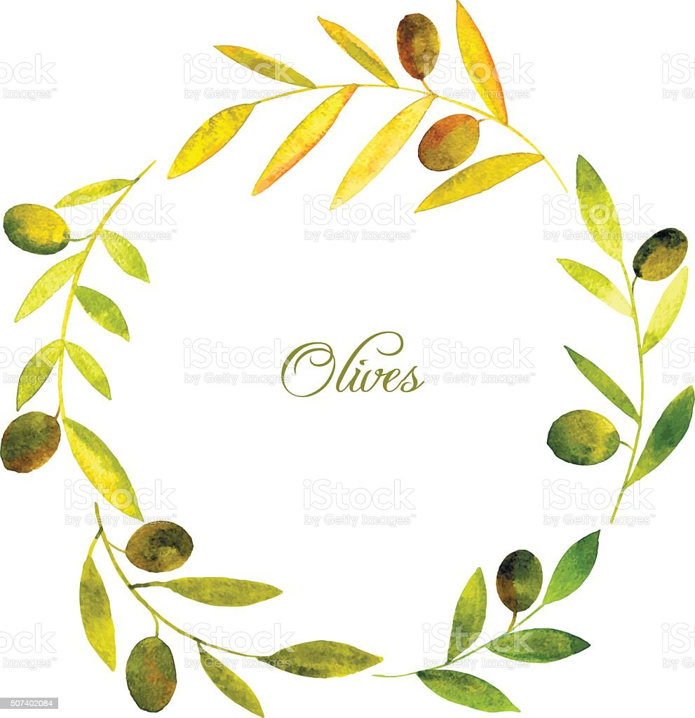 round wreath with watercolor green leaves and olives vector art illustration