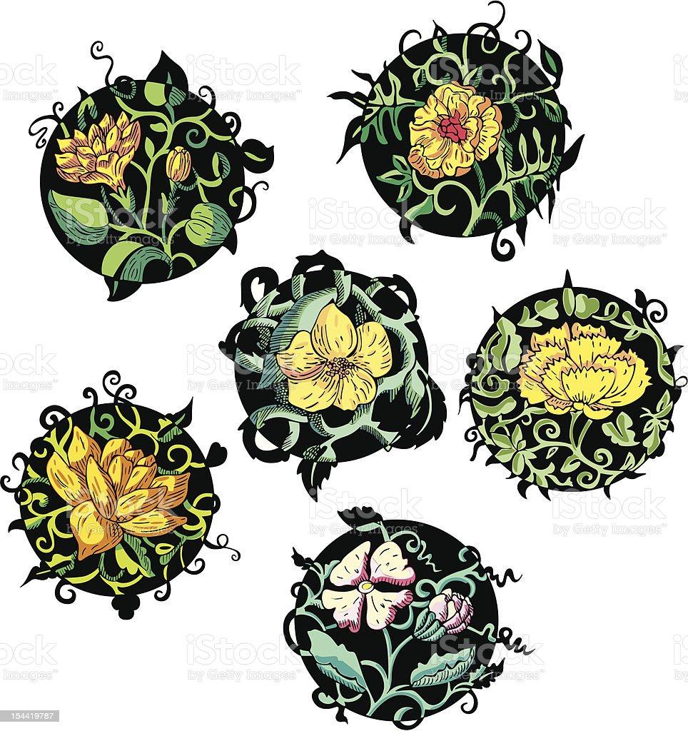 Round yellow flower designs royalty-free stock vector art