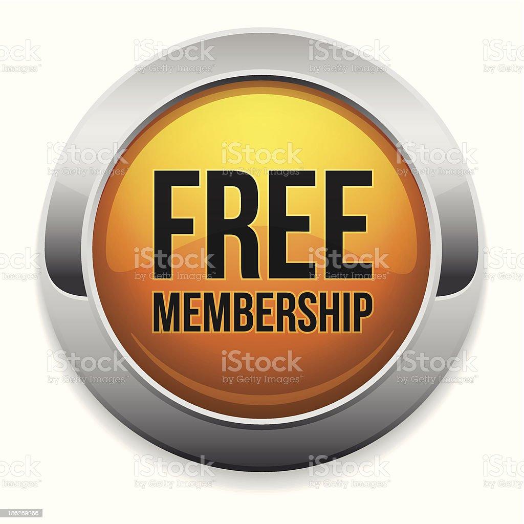 Round yellow free membership button vector art illustration