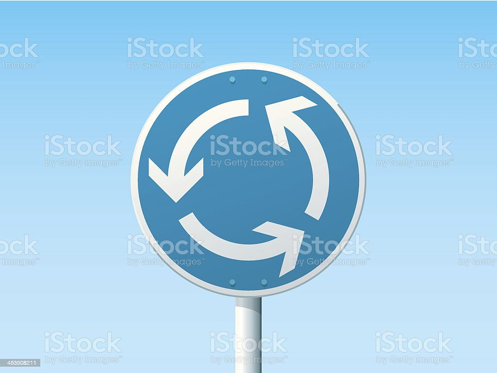 Roundabout German Road Sign Blue vector art illustration